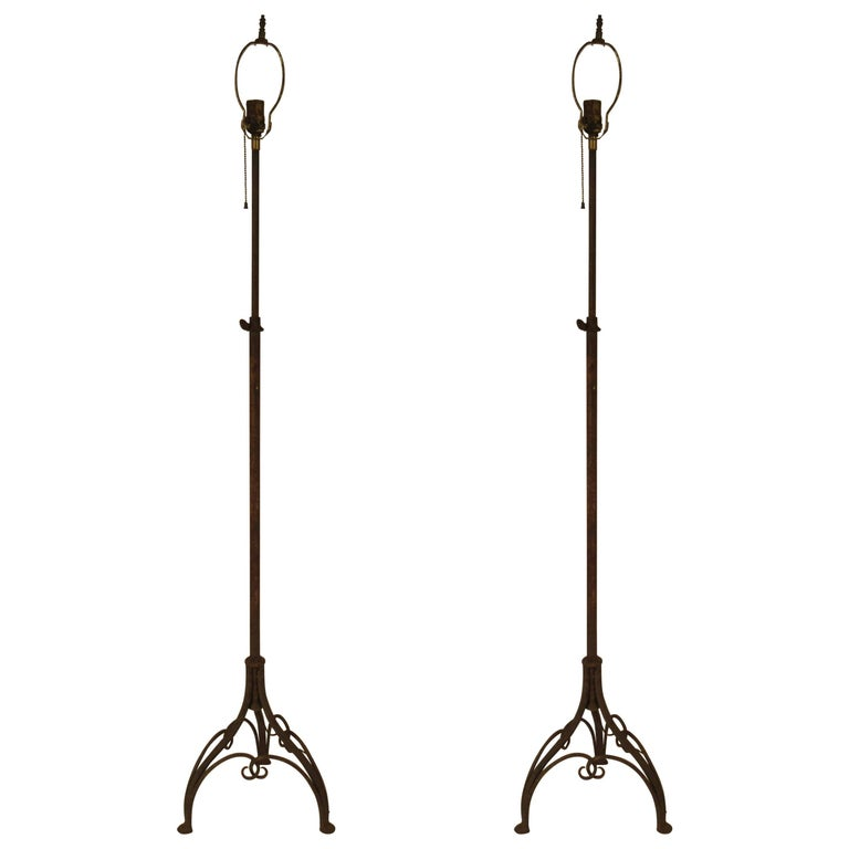 Pair of 1940s Expandable Wrought Floor Lamps