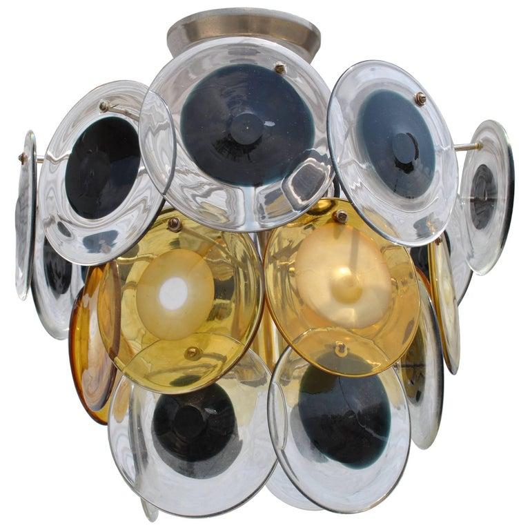 Mid-Century Modern Italian Murano Vistosi Glass Disc Chandelier For Sale