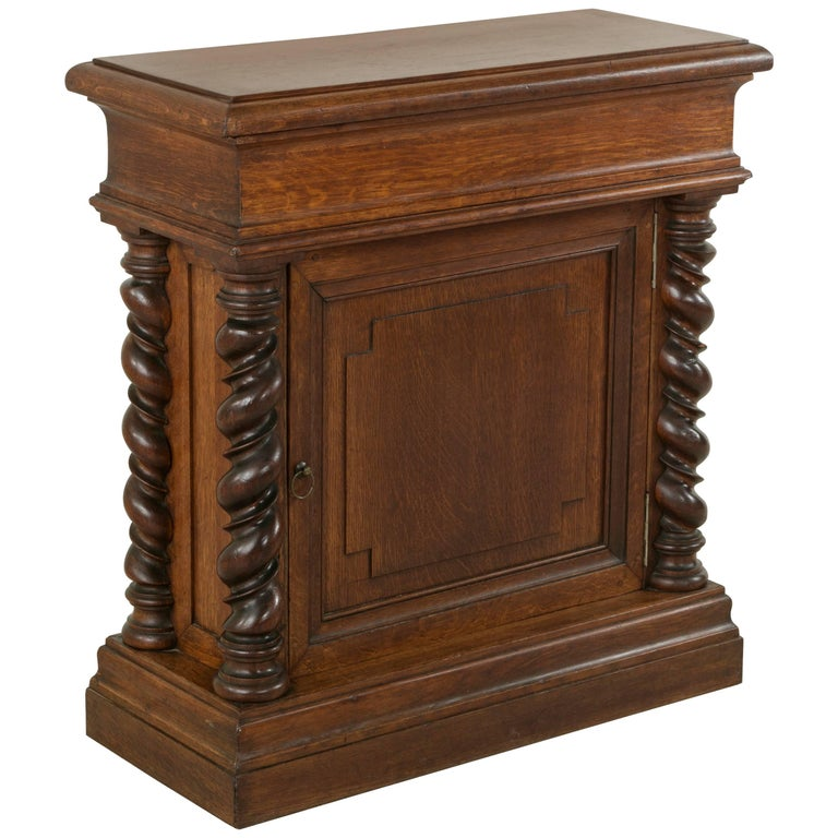 French Artisan-Made Double Sided Oak Cabinet, Console, Sofa Table, or Dry Bar