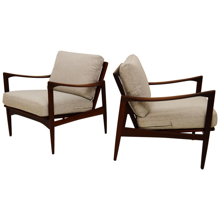 Pair Kandiaten Easy Chairs by Ib Kofod Larsen For Sale