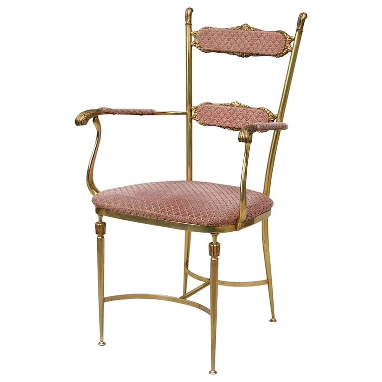 Solid Brass Neoclassical Boudoir Chair, 1950s, Italy