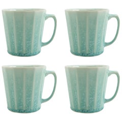 Monday Mug Crystal Green Set of Four Coffee Mug Contemporary Glazed Porcelain