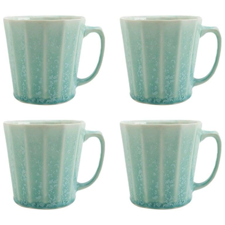 Monday Mug Crystal Green Set of Four Coffee Mug Contemporary Glazed Porcelain