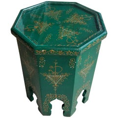 Small Hexagonal Moroccan Hand-Painted Side Table in Green