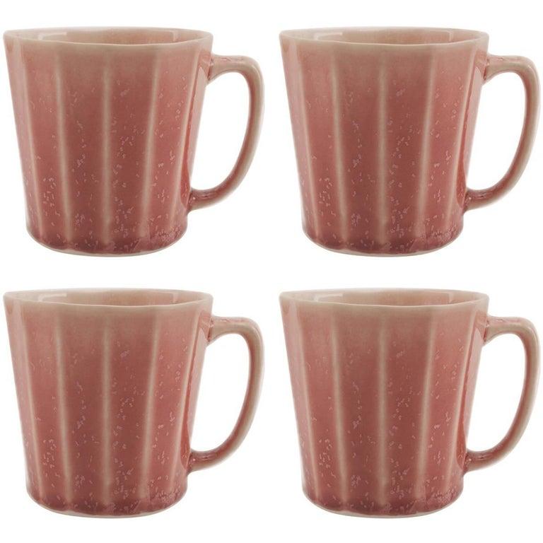 Monday Mug Crystal Red Set of Four Coffee Mug Contemporary Glazed Porcelain