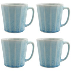 Monday Mug Crystal Blue Set of Four Coffee Mug Contemporary Glazed Porcelain