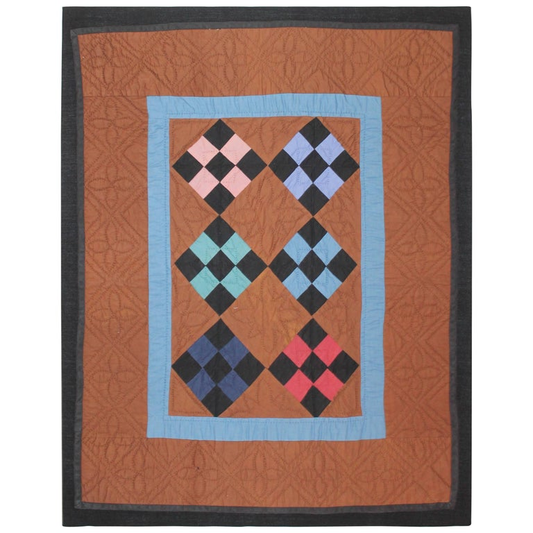 Amish Crib Quilt Mounted on Frame