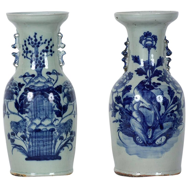 Pair Of Chinese Blue And White Ceramic Vases At 1stdibs