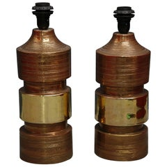 Pair of Bitossi/Bergboms Lamps Copper and Gold
