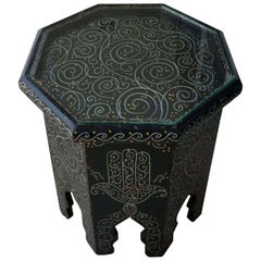 Small Hexagonal Moroccan Hand-Painted Side Table, Black
