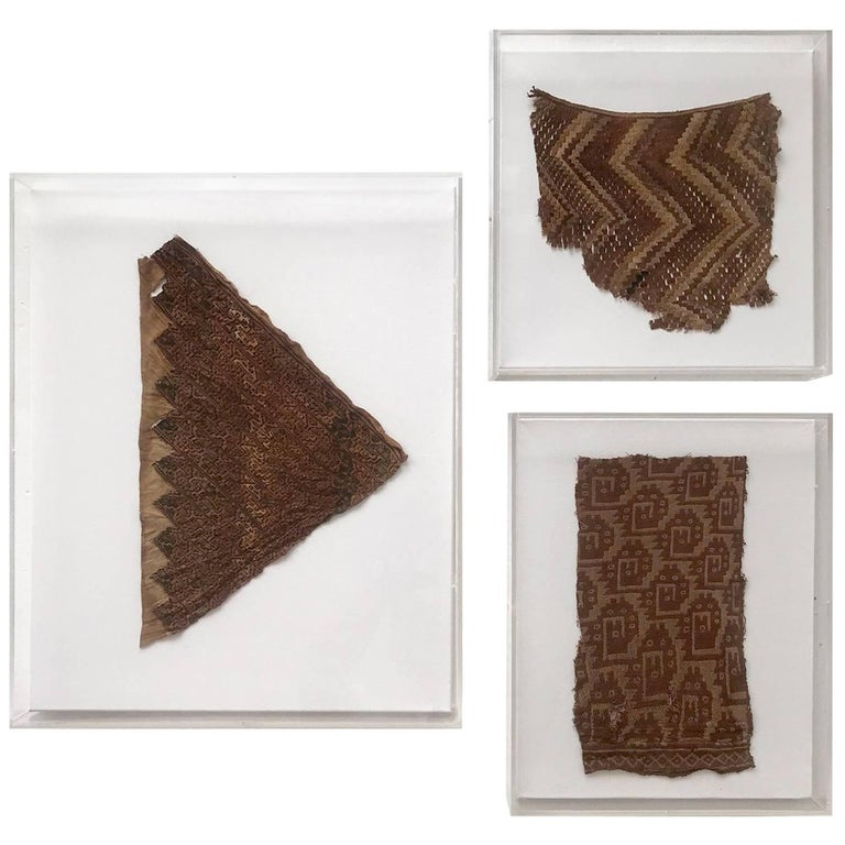 Group of Three Framed Pre-Columbian Textile Fragments