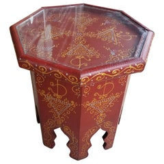Small Hexagonal Moroccan Hand-Painted Side Table, Red