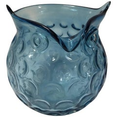 Murano Blue Glass Owl Shaped Bowl