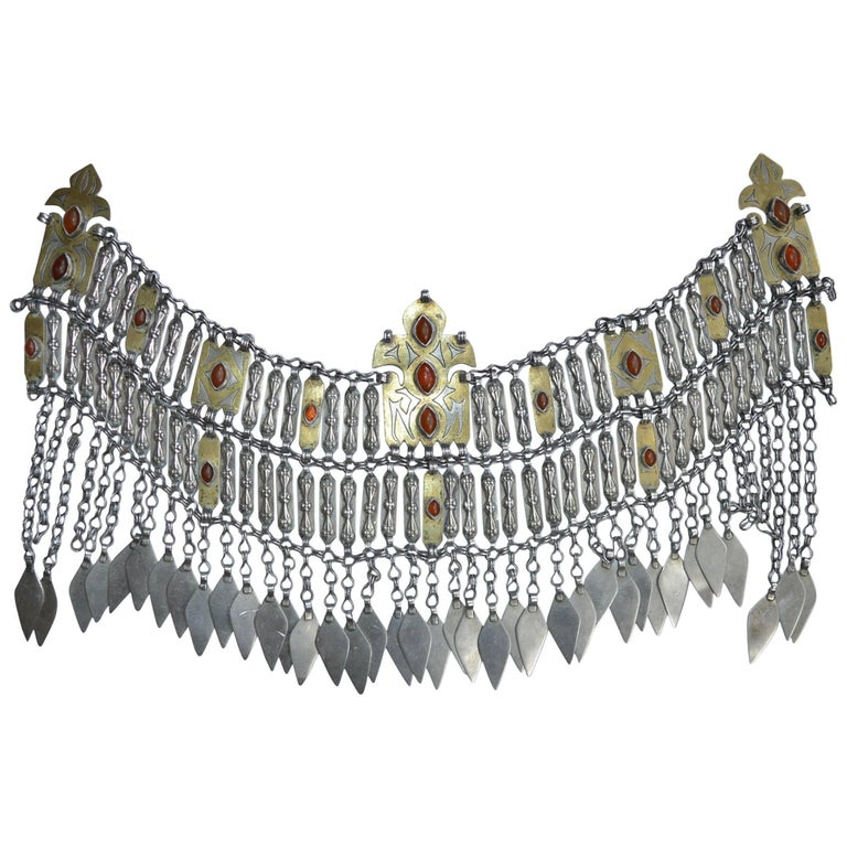 Large Central Asian Turkmen Tribal Silver Gilt Breast-Piece