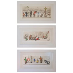 "Set of Three Midcentury Boris O'Klein Prints, ""The Dirty Dogs of Paris"" Series"