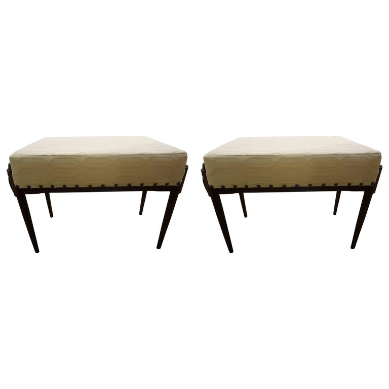 Pair of Italian Gio Ponti Inspired Midcentury Benches or Ottomans