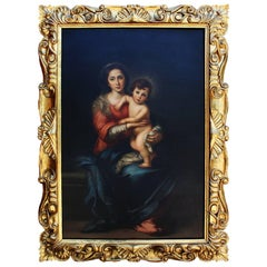 "Attributed to Giorgio Lucchesi, Oil on Canvas ""Madonna & Child"" After Murillo"