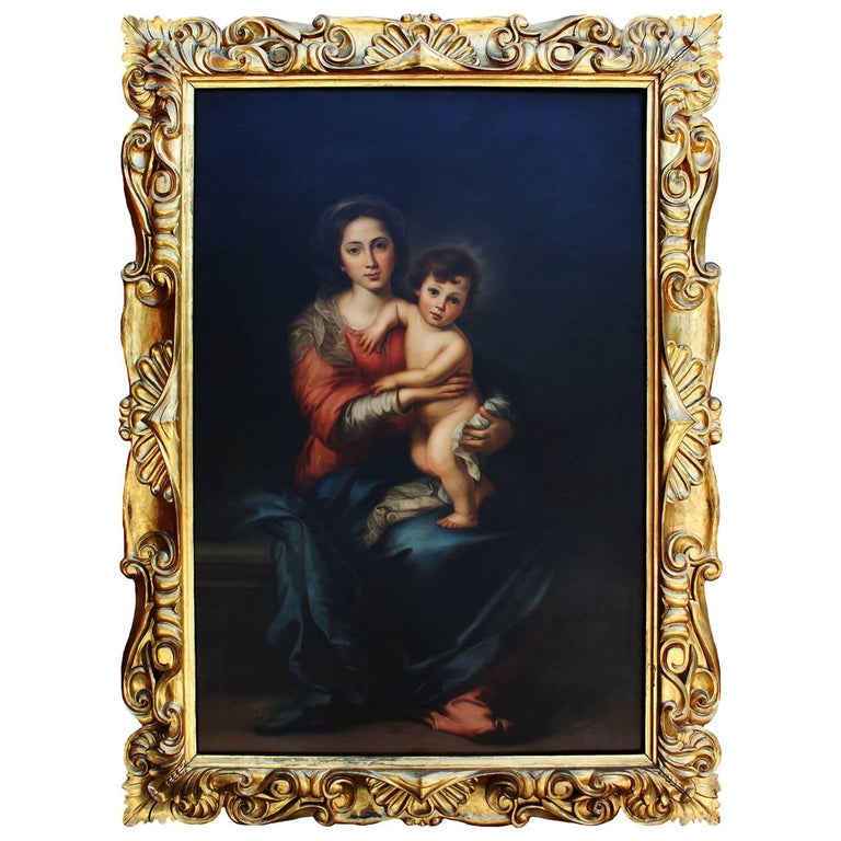 """Attributed to Giorgio Lucchesi, Oil on Canvas """"Madonna & Child"""" After Murillo"""
