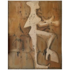 Abstract Figure Painting from France, circa 1950