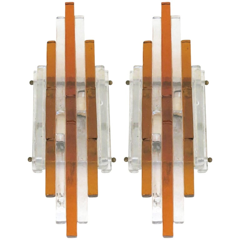 Pair of Stacked Murano Wall Sconces by Poliarte