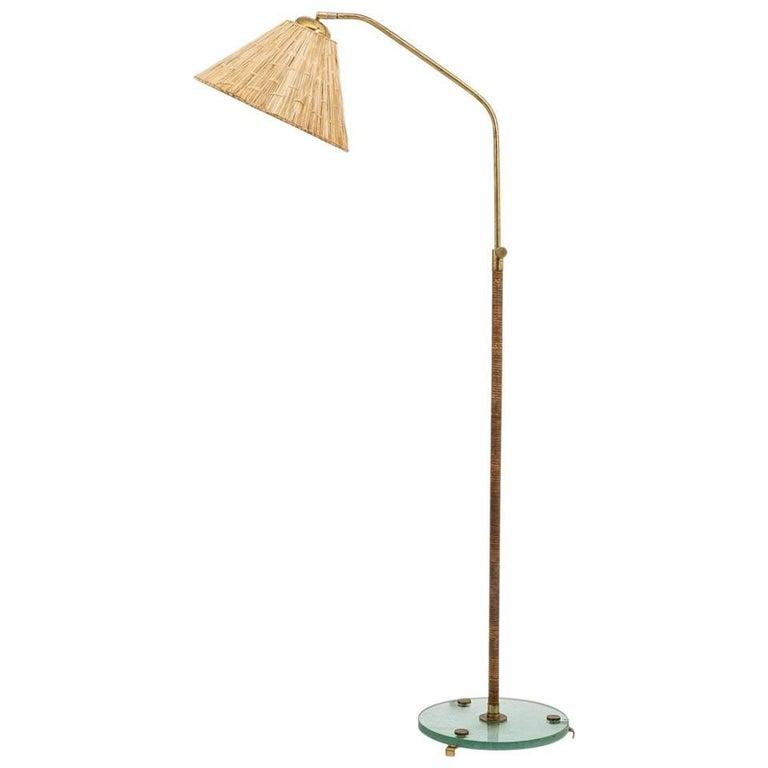 Swedish Floor Lamp in Brass and Rattan, 1930s
