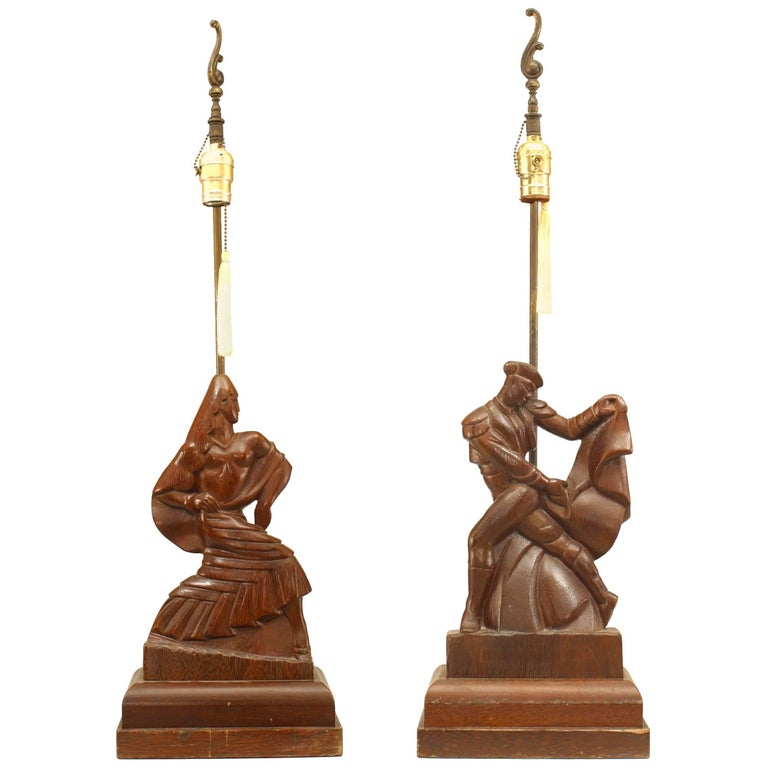 Pair of American Mid-Century Modern Figural Table Lamps
