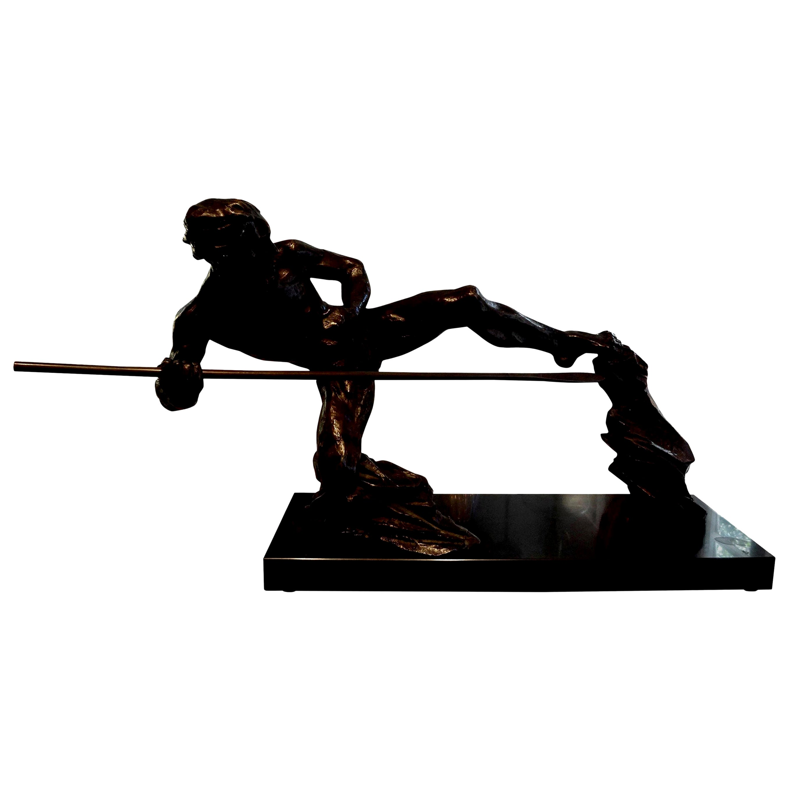 French Art Deco Bronze Sculpture of an Athlete on a Marble Base