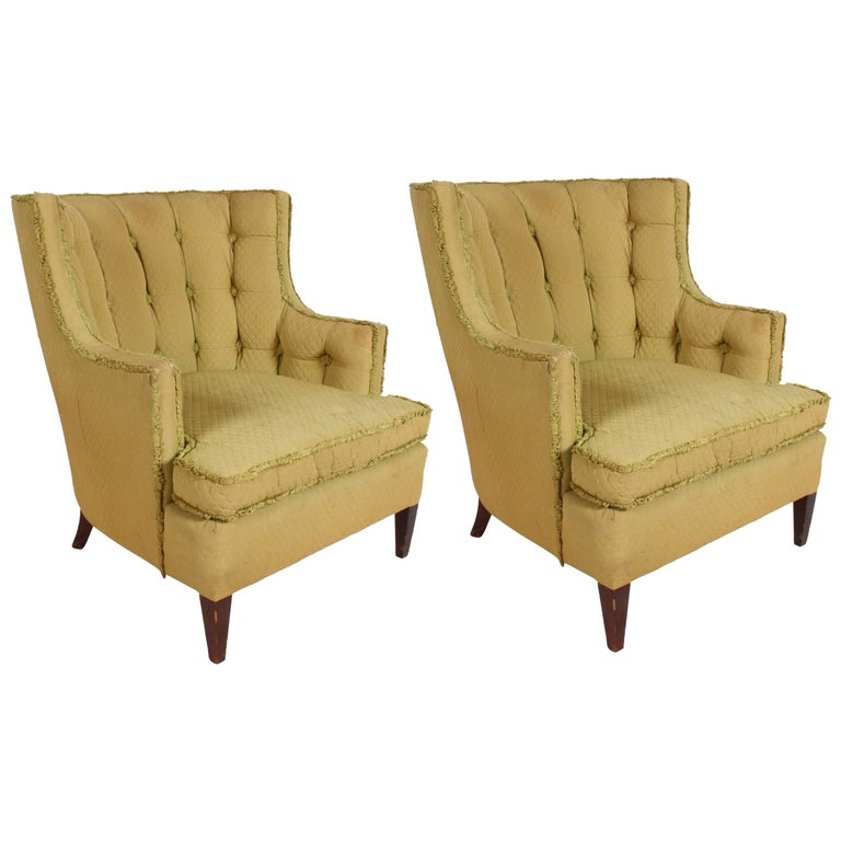 Pair of 1940s Tomlinson Barrel Back Lounge Chairs  For Sale