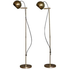 Pair of Brass Floor Lamps, Sweden, 1960s