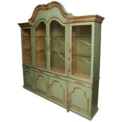 Superb 1950s Italian Baroque Style Parcel Gilt Green Painted Cabinet