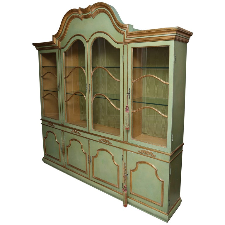 Superb 1950s Italian Baroque Style Parcel Gilt Green Painted Cabinet For Sale