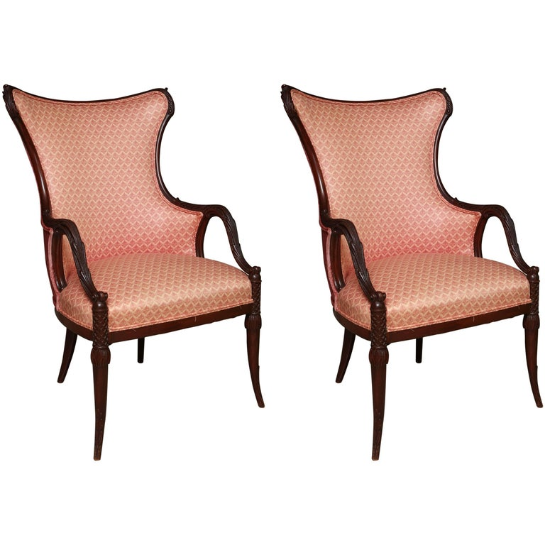 Pair of 1920s Art Deco Style Mahogany Armchairs Chairs
