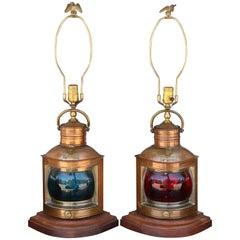 Superb Pair of Vintage Copper Ship Light Lamps