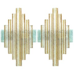 Pair of Stacked Diamond Murano Wall Sconces by Poliarte