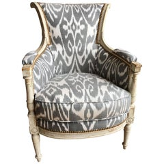 French Directoire Period Bergere in Ikat Fabric