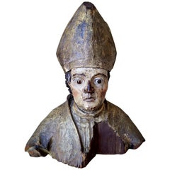 18th Century French Carved Polychromed Bishop Figurative Statue with Glass Eyes