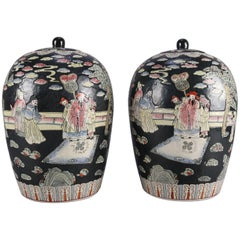 Pair of Chinese Hand-Painted Porcelain Covered Jars, Figures in Garden