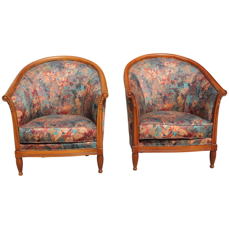 Pair of French Art Deco Club Chairs Solid Mahogany Style of Paul Follot