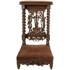 Late 19th Century French Hand-Carved Oak Prie Dieu or Prayer Chair with Columns