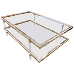 Two-Tier Coffee Table in Lucite and Polished Brass by Charles Hollis Jones