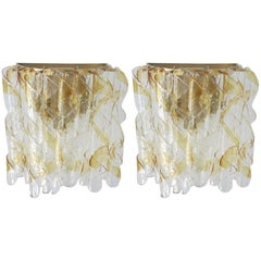 Pair of Murano Ribbon Wall Sconces by Mazzega