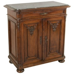 Tall Late 19th Century Hand-Carved Walnut Buffet or Dry Bar with Marble Top