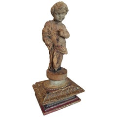18th Century Carved French Child Statue on Polychrome and Gilt Plinth
