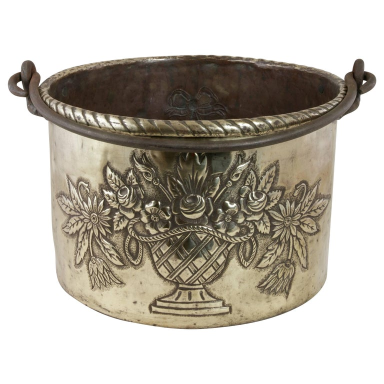 Large 18th Century French Louis XVI Period Brass Repousse Cauldron or Cachepot