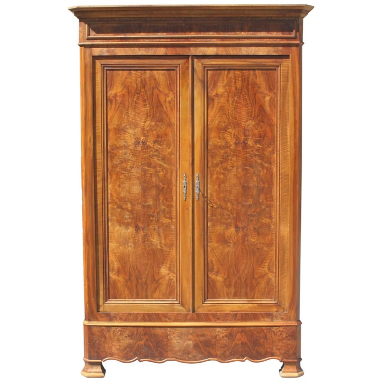 19th Century French Louis Philippe Walnut Armoire Period Chateau, circa 1900s