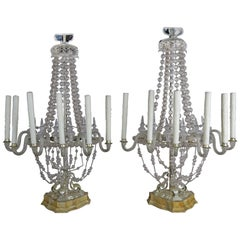 Rare Six-Light Handblown Murano Glass Lamps, Pair
