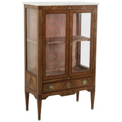 Late 18th Century French Louis XVI Period Signed Marquetry Cabinet or Vitrine