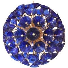 Italian Blue Murano Trumpets Gold Sputnik