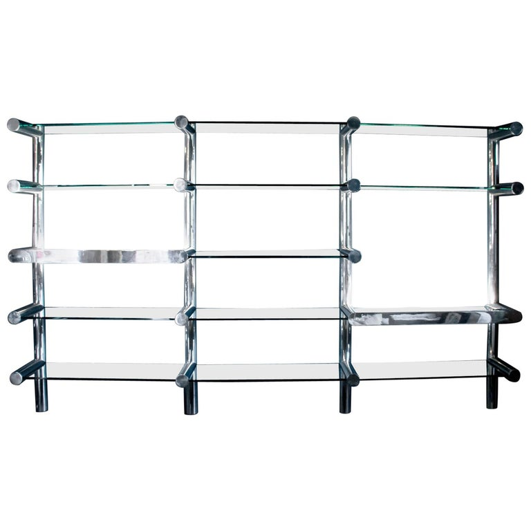 Orba Chrome and Glass Wall Unit by Janet Schwietzer for Pace Collection