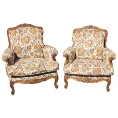 Pair of French Louis XV Bergere Chairs Solid Walnut, circa 1920s